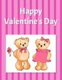 Manifesto felice di giorno di biglietti di S. Valentino con due Teddy Bears Fotografia Stock