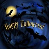 Manifesto felice di Halloween con i pipistrelli Immagine Stock