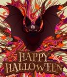 Manifesto felice di Halloween con il pipistrello Illustrazione Vettoriale