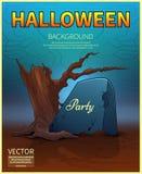 Manifesto felice di Halloween Pietra tombale antica Illustrazione di vettore Immagini Stock Libere da Diritti