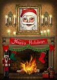 Manifesto felice di Natale del camino delle schiaccianoci di feste Fotografie Stock