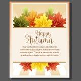Manifesto felice di tema di autunno con la foglia di acero Immagine Stock