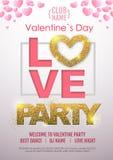 Manifesto felice di tipografia del partito di discoteca di giorno di biglietti di S. Valentino con il cuore di amore royalty illustrazione gratis