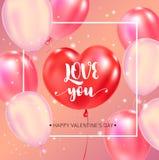 Manifesto felice di tipografia di giorno di biglietti di S. Valentino con il testo scritto a mano di calligrafia royalty illustrazione gratis