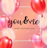 Manifesto felice di tipografia di giorno di biglietti di S. Valentino con il testo scritto a mano di calligrafia illustrazione vettoriale
