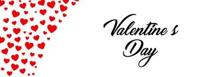 Manifesto felice di tipografia di giorno di biglietti di S. Valentino con il testo scritto a mano di calligrafia, su fondo bianco illustrazione vettoriale