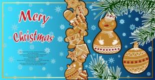 Manifesto festivo con un'illustrazione del pan di zenzero di Natale Fotografia Stock Libera da Diritti