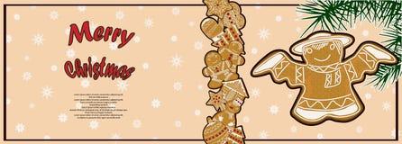 Manifesto festivo con un'immagine del pan di zenzero di Natale Fotografia Stock