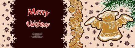Manifesto festivo con un modello del pan di zenzero di Natale Fotografia Stock Libera da Diritti
