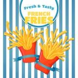 Manifesto fresco e saporito delle patate fritte Patatine fritte di volo su una s illustrazione di stock