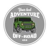 Manifesto fuori strada di logo del camion del trofeo del suv 4x4 dell'automobile Immagine Stock