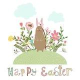 Manifesto grafico felice di pasqua con il coniglietto Fotografie Stock