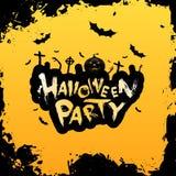 Manifesto Grungy del partito di Halloween Fotografie Stock
