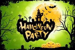 Manifesto Grungy del partito di Halloween con le zucche Fotografie Stock Libere da Diritti