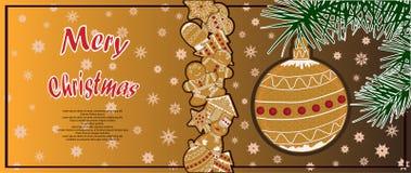 Manifesto illustrato con le immagini del pan di zenzero di Natale Fotografie Stock Libere da Diritti