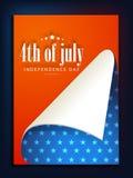 Manifesto, insegna o aletta di filatoio americana di celebrazione di festa dell'indipendenza Fotografia Stock