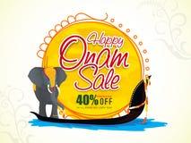 Manifesto, insegna o aletta di filatoio di vendita per la celebrazione di Onam Fotografie Stock Libere da Diritti