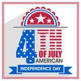 Manifesto, insegna o aletta di filatoio per la festa dell'indipendenza americana Fotografia Stock Libera da Diritti