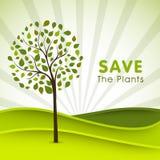 Manifesto, insegna o aletta di filatoio per le piante di risparmi Fotografia Stock Libera da Diritti