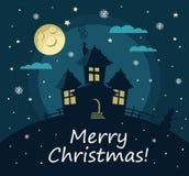Manifesto, insegna o fondo per il Buon Natale Camera, luna, stelle e neve Progettazione piana moderna Fotografie Stock Libere da Diritti