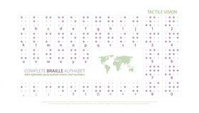 Manifesto internazionale di alfabeto di Braille con le lettere latine, numeri Fotografia Stock