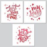 Manifesto ispiratore di motivazione dell'iscrizione della mano per il giorno di Valentine's Fotografia Stock