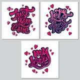 Manifesto ispiratore di motivazione dell'iscrizione della mano per il giorno di Valentine's Fotografie Stock