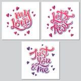 Manifesto ispiratore di motivazione dell'iscrizione della mano per il giorno di Valentine's Immagine Stock Libera da Diritti