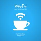 Manifesto libero del caffè di wifi Fotografia Stock Libera da Diritti