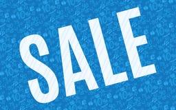 Manifesto luminoso blu di vendita per i depositi royalty illustrazione gratis
