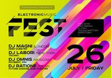 Manifesto luminoso del DJ per aria aperta Copertura di musica elettronica per estate Fotografia Stock Libera da Diritti