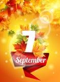 Manifesto luminoso il 7 settembre, foglie di acero di autunno, l'effetto dell'incandescenza del sole La luce Illustrazione di vet Immagini Stock Libere da Diritti