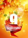 Manifesto luminoso il 9 settembre, foglie di acero di autunno, l'effetto dell'incandescenza del sole La luce Illustrazione di vet Fotografie Stock Libere da Diritti