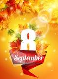 Manifesto luminoso l'8 settembre, foglie di acero di autunno, l'effetto dell'incandescenza del sole La luce Illustrazione di vett Immagini Stock Libere da Diritti