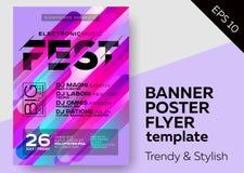 Manifesto minimo del DJ per aria aperta Copertura di musica elettronica per l'aletta di filatoio del partito del Fest o del club  Fotografia Stock