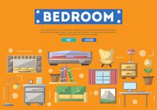 Manifesto moderno della decorazione interna della camera da letto Immagine Stock