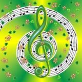 Manifesto musicale della primavera con la chiave tripla e le note Immagine Stock Libera da Diritti