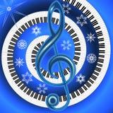 Manifesto musicale di inverno con la chiave tripla e la tastiera Immagini Stock Libere da Diritti