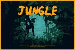 Manifesto naturale del paesaggio verde della giungla illustrazione di stock