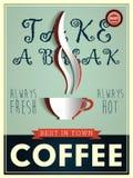 Manifesto nello stile d'annata con una tazza di caffè Immagini Stock