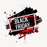 manifesto nero astratto di vendita di venerdì Immagini Stock Libere da Diritti