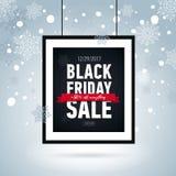 Manifesto nero di vendita di venerdì nel telaio su fondo nevoso Etichetta stagionale di sale Fotografie Stock Libere da Diritti
