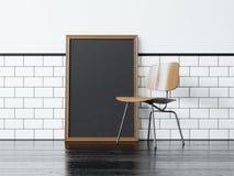 Manifesto nero e la sedia rappresentazione 3d Immagine Stock
