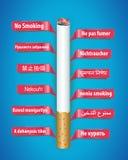 Manifesto non fumatori nelle lingue differenti illustrazione vettoriale