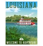 Manifesto o autoadesivo di viaggio della Luisiana illustrazione di stock
