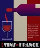 Manifesto o contrassegno del vino della Francia di vettore Fotografia Stock Libera da Diritti
