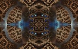 Manifesto o fondo fantastico astratto epico Vista futuristica dall'interno del frattale Modello nella forma di frecce Fotografia Stock