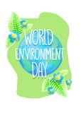 Manifesto o insegna creativo della Giornata mondiale dell'ambiente Cartolina d'auguri di festa di protezione di ecologia Progetta Fotografia Stock