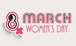 Manifesto o insegna di celebrazione del giorno delle donne felici Fotografia Stock