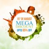 Manifesto o insegna di vendita per la festa dell'indipendenza indiana Immagini Stock